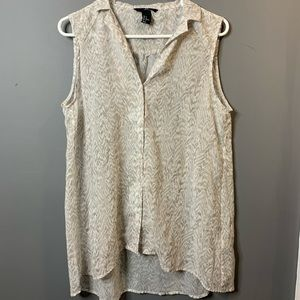 H&M sheer button up sleeveless blouse size 14